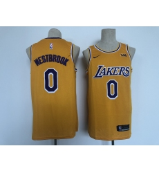 Men's Los Angeles Lakers #0 Russell Westbrook Fanatics Branded Gold 2020-21 Fast Break Player Jersey