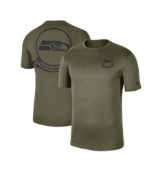 Football Men's Seattle Seahawks Olive 2019 Salute to Service Sideline Seal Legend Performance T-Shirt