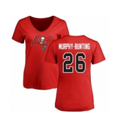 Football Women's Tampa Bay Buccaneers #26 Sean Murphy-Bunting Red Name & Number Logo T-Shirt