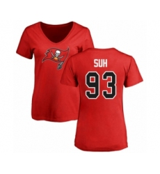 Football Women's Tampa Bay Buccaneers #93 Ndamukong Suh Red Name & Number Logo T-Shirt