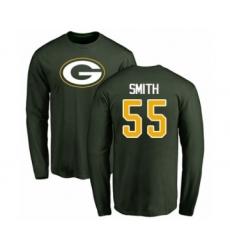 Football Green Bay Packers #55 Za'Darius Smith Green Name & Number Logo Long Sleeve T-Shirt
