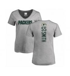 Football Women's Green Bay Packers #55 Za'Darius Smith Ash Backer V-Neck T-Shirt