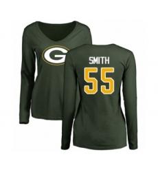 Football Women's Green Bay Packers #55 Za'Darius Smith Green Name & Number Logo Long Sleeve T-Shirt