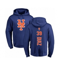 Baseball New York Mets #39 Edwin Diaz Royal Blue Backer Pullover Hoodie