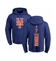 Baseball New York Mets #7 Marcus Stroman Royal Blue Backer Pullover Hoodie