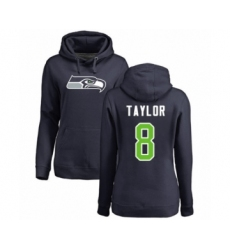 Football Women's Seattle Seahawks #8 Jamar Taylor Navy Blue Name & Number Logo Pullover Hoodie
