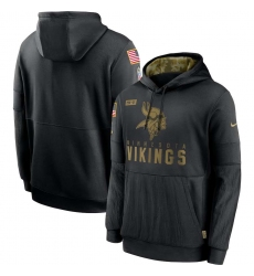 Men's NFL Minnesota Vikings 2020 Salute To Service Black Pullover Hoodie