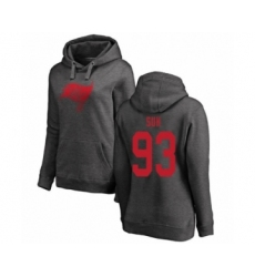 Football Women's Tampa Bay Buccaneers #93 Ndamukong Suh Ash One Color Pullover Hoodie