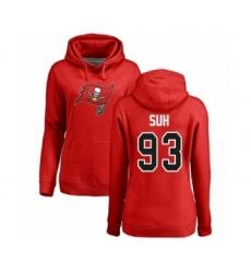 Football Women's Tampa Bay Buccaneers #93 Ndamukong Suh Red Name & Number Logo Pullover Hoodie