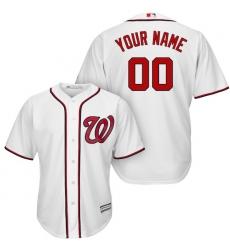 Men's Washington Nationals Majestic White Cool Base Custom Jersey