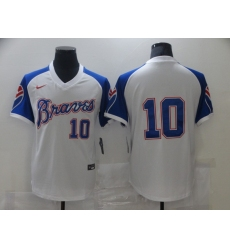 Men's Nike Atlanta Braves #10 Atlanta Braves White Stitched Baseball Jersey