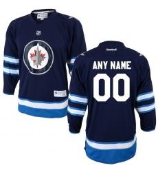 Youth Winnipeg Jets Reebok Navy Custom Home Replica Jersey