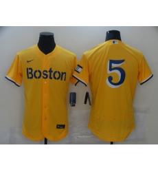 Men's Boston Red Sox #5 Enrique Hernandez Nike Gold-Light Blue 2021 City Connect Jersey
