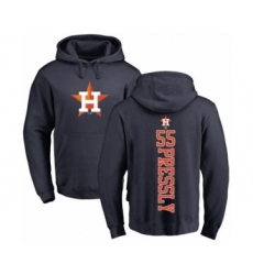 Baseball Houston Astros #55 Ryan Pressly Navy Blue Backer Pullover Hoodie