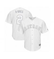 Men's Houston Astros #2 Alex Bregman  A-Breg  Authentic White 2019 Players Weekend Baseball Jersey