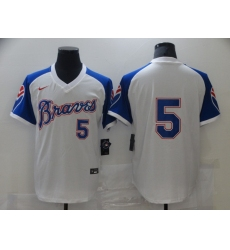 Men's Nike Atlanta Braves #5 Freddie Freeman White Stitched Baseball Jersey