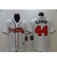 Men's Nike Atlanta Braves #44 Hank Aaron White Jersey