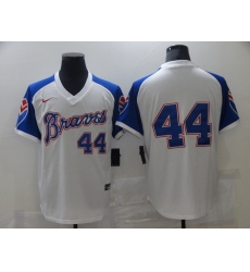 Men's Nike Atlanta Braves #44 Hank Aaron White Stitched Baseball Jersey