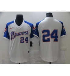 Men's Nike Atlanta Braves #24 Deion Sanders White Stitched Baseball Jersey