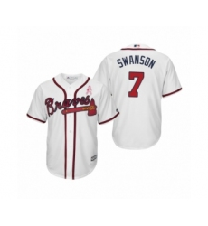 Men's Dansby Swanson Atlanta Braves #7 White 2019 Mothers Day Cool Base Jersey