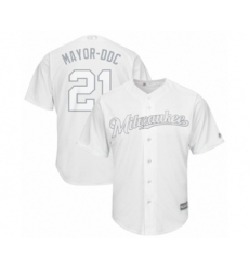Men's Milwaukee Brewers #21 Travis Shaw  Mayor-DDC  Authentic White 2019 Players Weekend Baseball Jersey