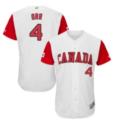 Men's Canada Baseball Majestic #4 Pete Orr White 2017 World Baseball Classic Authentic Team Jersey