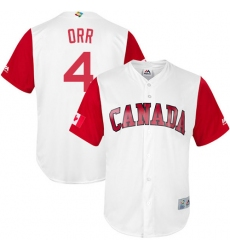 Men's Canada Baseball Majestic #4 Pete Orr White 2017 World Baseball Classic Replica Team Jersey