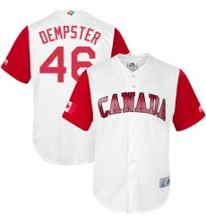 Men's Canada Baseball Majestic #46 Ryan Dempster White 2017 World Baseball Classic Replica Team Jersey