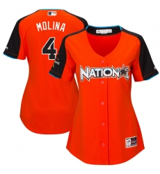 Women's Majestic St. Louis Cardinals #4 Yadier Molina Replica Orange National League 2017 MLB All-Star MLB Jersey