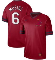 Men's Nike St.Louis Cardinals #6 Stan Musial Red Authentic Cooperstown Collection Stitched Baseball Jersey