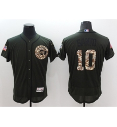 Men's Majestic Chicago Cubs #10 Ron Santo Authentic Green Salute to Service Jersey