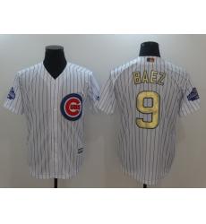 Men's Chicago Cubs #9 Javier Baez Authentic White Gold Program Flex Base Jersey