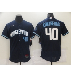 Men's Nike Chicago Cubs #40 Willson Contreras Navy City Home Stitched Baseball Jersey