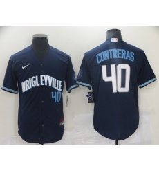 Men's Nike Chicago Cubs #40 Willson Contreras Navy City Home Stitched Jersey