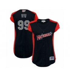 Women's Los Angeles Dodgers #99 Hyun-Jin Ryu Authentic Navy Blue National League 2019 Baseball All-Star Jersey