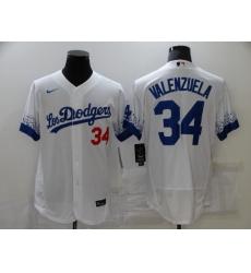 Men's Nike Los Angeles Dodgers #34 Fernando Valenzuela White Elite City Player Jersey
