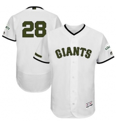 Men's Majestic San Francisco Giants #28 Buster Posey White Memorial Day Authentic Collection Flex Base MLB Jersey