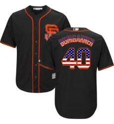 Men's Majestic San Francisco Giants #40 Madison Bumgarner Replica Black USA Flag Fashion MLB Jersey