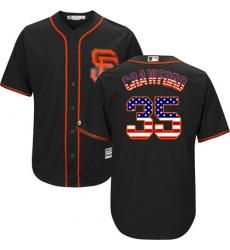 Men's Majestic San Francisco Giants #35 Brandon Crawford Replica Black USA Flag Fashion MLB Jersey