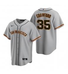 Men's Nike San Francisco Giants #35 Brandon Crawford Gray Road Stitched Baseball Jersey