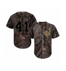 Men's Cleveland Indians #41 Carlos Santana Authentic Camo Realtree Collection Flex Base Baseball Jersey