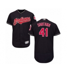 Men's Cleveland Indians #41 Carlos Santana Navy Blue Alternate Flex Base Authentic Collection Baseball Jersey