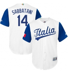 Men's Italy Baseball Majestic #14 Marco Sabbatani White 2017 World Baseball Classic Replica Team Jersey