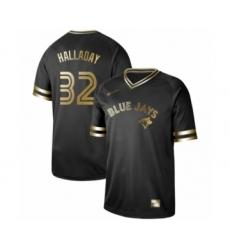 Men's Toronto Blue Jays #32 Roy Halladay Authentic Black Gold Fashion Baseball Jersey