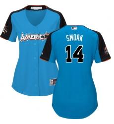 Women's Majestic Toronto Blue Jays #14 Justin Smoak Replica Blue American League 2017 MLB All-Star MLB Jersey
