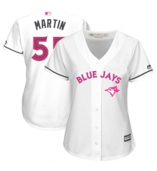 Women's Majestic Toronto Blue Jays #55 Russell Martin Authentic White Mother's Day Cool Base MLB Jersey
