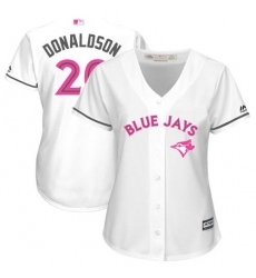 Women's Majestic Toronto Blue Jays #20 Josh Donaldson Authentic White Mother's Day Cool Base MLB Jersey