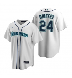 Men's Nike Seattle Mariners #24 Ken Griffey Jr. White Home Stitched Baseball Jersey