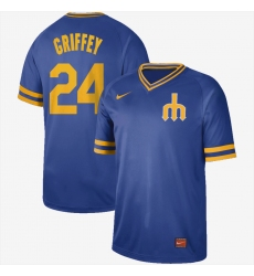 Men's Nike Seattle Mariners #24 Ken Griffey Nike Cooperstown Collection Legend V-Neck Jersey Royal