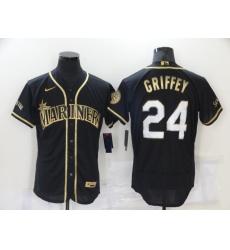Men's Seattle Mariners #24 Ken Griffey Authentic Black Gold Elite Fashion Baseball Jersey